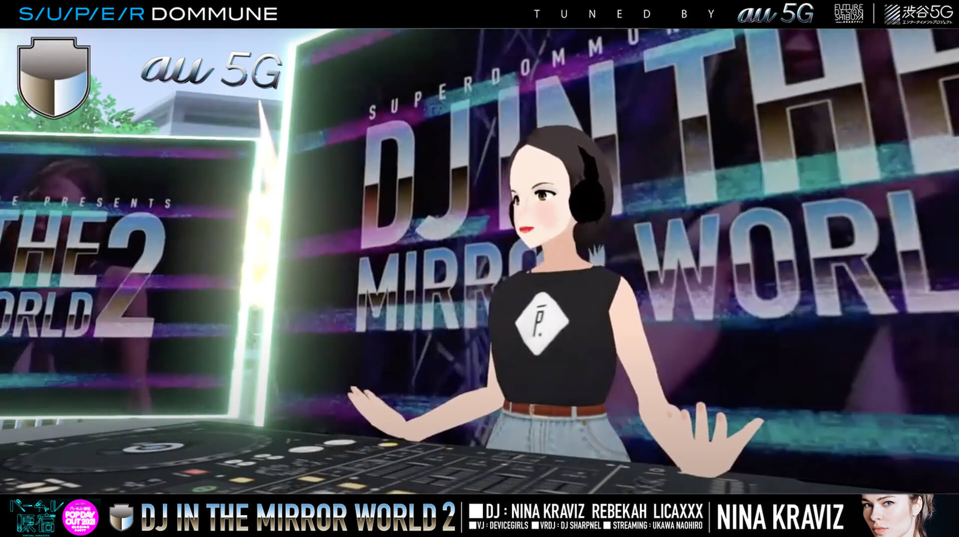 Nina Kraviz、Rebekah、Licaxxxが登場した<DJ IN THE MIRROR WORLD VOL.2>DJイベントのフル尺映像がアーカイブとして公開中! music210603_virtualharajuku_4